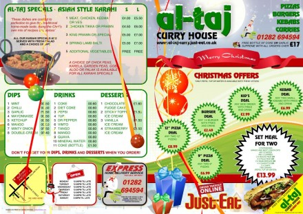 Al-Taj Christmas Menu - Front and Back