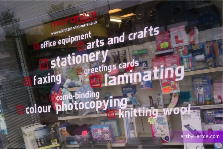 Microsoft Stationers, Nelson, Window Graphics - ArtbyHerbie.com