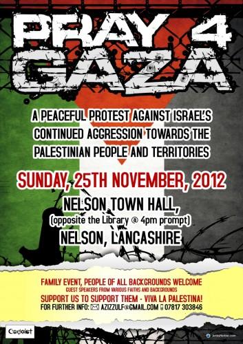 Pray4Gaza Protest Poster - Nelson, Lancashire